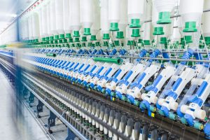 cotton spinning machinery , high speed operation with motion blur